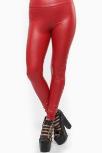 Faux Leather Leggings Red