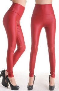 Images of Red Faux Leather Leggings