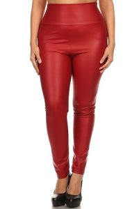 Red Faux Leather Leggings Pictures