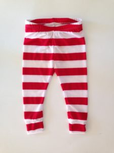 Red and White Striped Baby Leggings